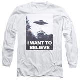 X-Files Believe Poster Long Sleeve Adult 18/1 T-Shirt White