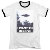 X-Files Believe Poster Adult Ringer T-Shirt White/Black