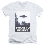 X-Files Believe Poster Adult V-Neck 30/1 T-Shirt White