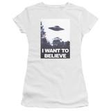 X-Files Believe Poster Junior Women's T-Shirt Sheer White