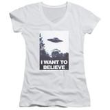 X-Files Believe Poster Junior Women's T-Shirt V-Neck White