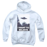 X-Files Believe Poster Youth Pullover Hoodie Sweatshirt White