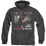 X-Files Believe At The Office Adult Heather Hoodie Sweatshirt Black