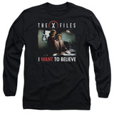 X-Files Believe At The Office Long Sleeve Adult 18/1 T-Shirt Black