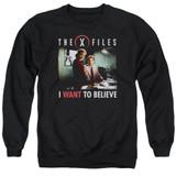 X-Files Believe At The Office Adult Crewneck Sweatshirt Black