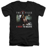 X-Files Believe At The Office Adult V-Neck 30/1 T-Shirt Black