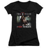 X-Files Believe At The Office Junior Women's T-Shirt V-Neck Black