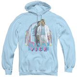 Miami Vice Miami Heat Adult Pullover Hoodie Sweatshirt Light Blue