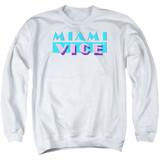 Miami Vice Logo Adult Crewneck Sweatshirt White