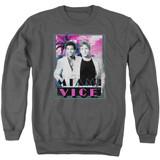 Miami Vice Gotchya Adult Crewneck Sweatshirt Charcoal