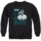 Miami Vice Looking Out Adult Crewneck Sweatshirt Black
