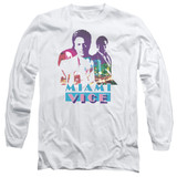 Miami Vice Crockett And Tubbs Long Sleeve Adult 18/1 T-Shirt White