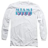 Miami Vice Logo Long Sleeve Adult 18/1 T-Shirt White