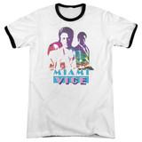 Miami Vice Crockett And Tubbs Adult Ringer T-Shirt White/Black
