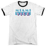 Miami Vice Logo Adult Ringer T-Shirt White/Black