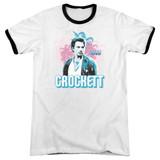 Miami Vice Crockett Adult Ringer T-Shirt White/Black