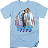 Miami Vice Miami Heat Adult 18/1 T-Shirt Light Blue