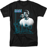 Miami Vice Looking Out Adult 18/1 T-Shirt Black