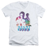 Miami Vice Crockett And Tubbs Adult V-Neck T-Shirt White