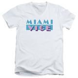 Miami Vice Logo Adult V-Neck T-Shirt White