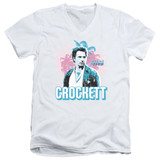 Miami Vice Crockett Adult V-Neck T-Shirt White