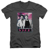 Miami Vice Gotchya Adult V-Neck T-Shirt Charcoal