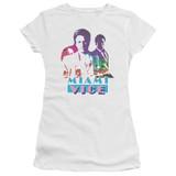 Miami Vice Crockett And Tubbs Junior Women's Sheer T-Shirt White