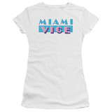 Miami Vice Logo Junior Women's Sheer T-Shirt White
