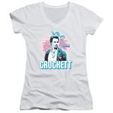 Miami Vice Crockett Junior Women's V-Neck T-Shirt White