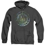 Battlestar Galactica (New) Galaxy Emblem Adult Heather Hoodie Sweatshirt Black