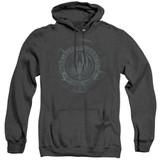 Battlestar Galactica (New) Faded Emblem Adult Heather Hoodie Sweatshirt Black