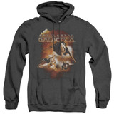 Battlestar Galactica (New) Vipers Stretch Adult Heather Hoodie Sweatshirt Black
