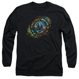 Battlestar Galactica (New) Emblem Knock Out Long Sleeve Adult 18/1 T-Shirt Black