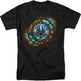 Battlestar Galactica (New) Emblem Knock Out 18/1 T-Shirt Black