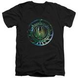 Battlestar Galactica (New) Galaxy Emblem V-Neck T-Shirt 30/1 T-Shirt Black