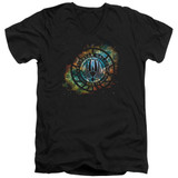 Battlestar Galactica (New) Emblem Knock Out V-Neck T-Shirt 30/1 T-Shirt Black