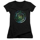 Battlestar Galactica (New) Galaxy Emblem Junior Women's V-Neck T-Shirt Black