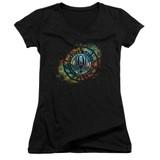 Battlestar Galactica (New) Emblem Knock Out Junior Women's V-Neck T-Shirt Black