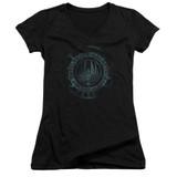 Battlestar Galactica (New) Faded Emblem Junior Women's V-Neck T-Shirt Black