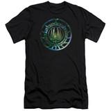 Battlestar Galactica (New) Galaxy Emblem Premium Canvas Adult Slim Fit 30/1 T-Shirt Black