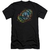 Battlestar Galactica (New) Emblem Knock Out Premium Canvas Adult Slim Fit 30/1 T-Shirt Black