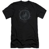 Battlestar Galactica (New) Faded Emblem Premium Canvas Adult Slim Fit 30/1 T-Shirt Black
