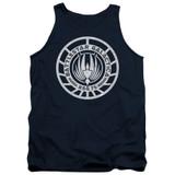 Battlestar Galactica Scratched BSG Logo Adult Tank Top Navy