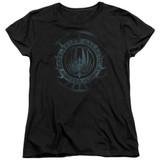 Battlestar Galactica (New) Faded Emblem Women's T-Shirt Black