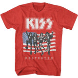 Kiss American Flag Kiss Red Heather Adult T-Shirt