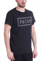 Nine Inch Nails Grey Logo on Black T-Shirt