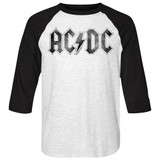 AC/DC Distressed Logo White/Black Adult Raglan Baseball T-Shirt