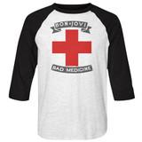 Bon Jovi Bad Medicine White/Black Adult Raglan Baseball T-Shirt