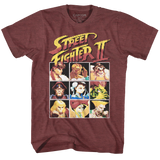 Street Fighter 8Bit Vintage Maroon Heather Adult T-Shirt