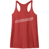 Smarties Simple Logo Vintage Red Junior Women's Raw Edge Racerback Tank Top